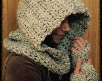 Crochet Hooded Cowl with Matching Wrist Warmers Set