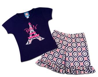 Girls Eiffel Tower Paris Shirt with Coordinating Ruffle Shorts