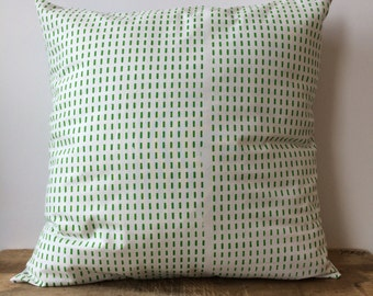 "Bright Green dot design printed on white pillow cover. Light gray fabric on back. Hand screen printed  - 18""x18"""