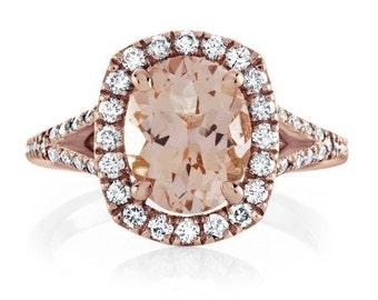 Morganite Engagement Ring Pink Oval 10x8mm Morganite Split Shank .64ct Diamond Halo Wedding 18kt Rose Gold Pristine Custom Rings
