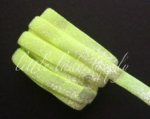 "Neon Yellow Frosted Glitter Elastic 3/8"", wholesale, glitter, headbands, elastic, ribbon"