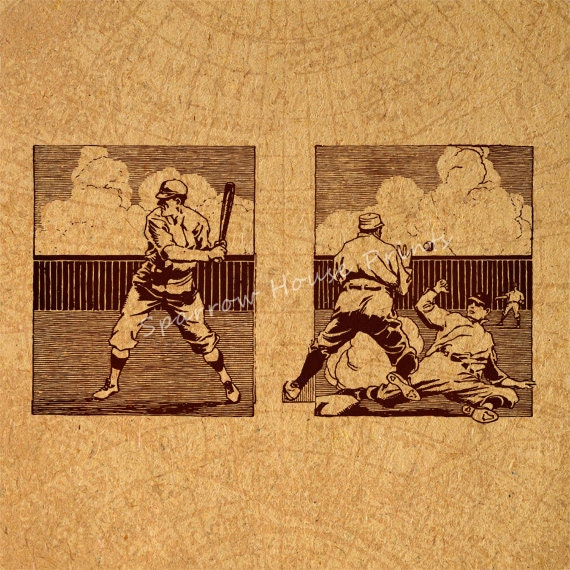 Vintage Baseball Wall Decor : Antique baseball vintage print players sports