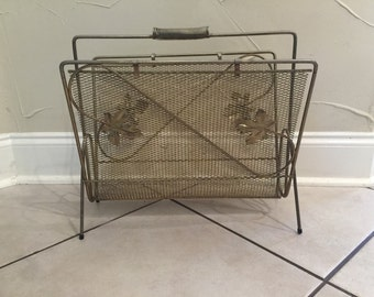 Vintage Magazine Rack - Metal/Wire with Leaf accents