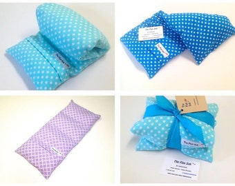 HEATING PAD - Microwavable FLAX Wrap - Christmas gift ideas - Pain - Removable/Washable Cover- Hot or cold pack- Large -Polka dot Flannel
