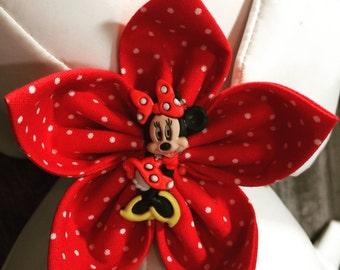 Bow Tie or Flower Collar Attachment & Accessory for Dogs and Cats / Red Polka Dots Disney Minnie Mouse Button Embellishment