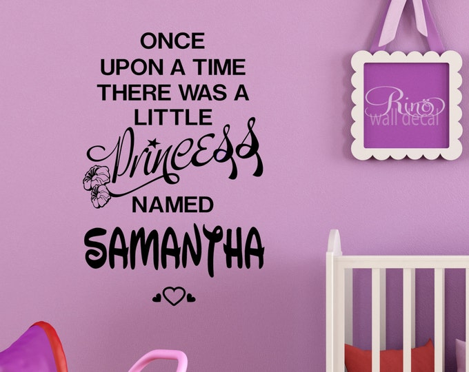 Princess Decal Once upon a time Personalized Name Wall art Vinyl sticker Walt Disney font custom nursery bedroom girl decor