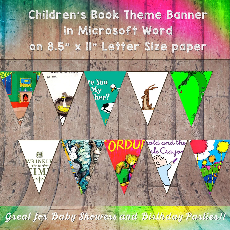 Children's Book Themed Banner For Birthday By AFriendDesigns