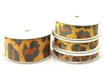 Grosgrain Jaguar Animal Print Ribbon, 25-yard