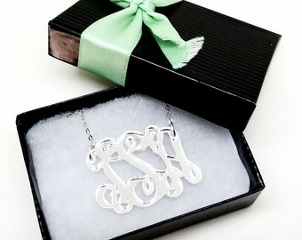 "Small 1.5"" Kids Silver Mirror Acrylic Monogram Necklace"
