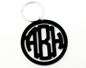 Black Acrylic Monogram Keychain
