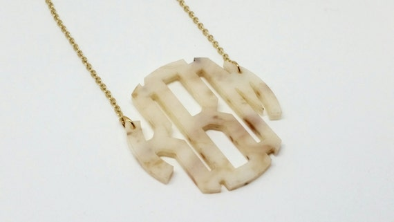 "Large 2"" Horn Acrylic Monogram Necklace"