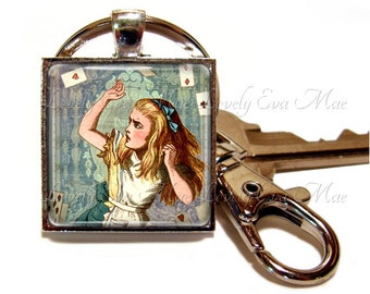Alice in Wonderland Keychain, Alice Keyring, Keychain with Clip, Key Fob with Clasp, Vintage Alice, Key Ring, Key Chain, John Tenniel