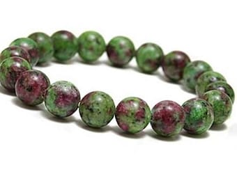 10mm Ruby Zoisite Bracelet, Anyolite Bracelet,Ruby Zoisite Mala,Green Bead Bracelet Women,Ruby Jewelry,Stretch Beaded Bracelet,Mens Bracelet