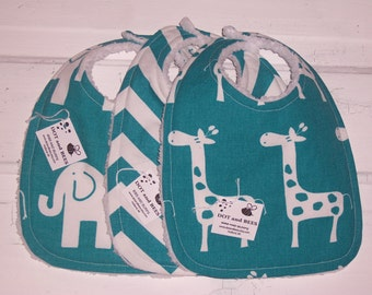 Giraffe and Elephant Baby Bib Set !  Teal  Gender Neutral !  FREE SHIPPING !!!!!!