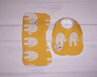 Bright Yellow Elephant Baby Bib and Burp cloth Set!  FREE SHIPPING!!!!!