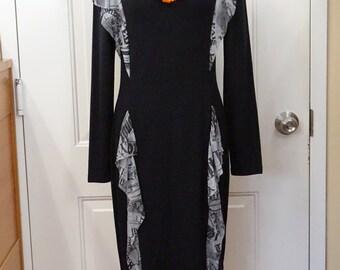 WEAR to WORK DRESS European Designer Contrast Dress Black Dress Long Sleeve Dress Business Dress Mid-Calf Dress Stretch dress Xl