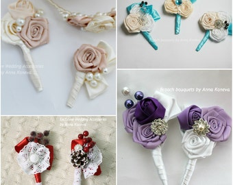 BEST SELLER  Wedding Boutonniere Buttonhole Wedding Boutineer  groom groomsmen Weddings Boutineer father of the bride