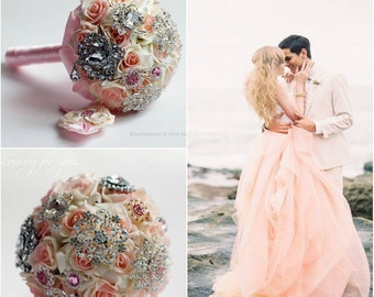 Brooch Bouquet Pink Wedding Brooch bouquet Bridal Broach bouquet Crystal bouquet Bridal Broach Heirloom Pink Wedding Jewelry bouquet