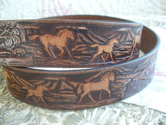 vintage mexican leather belt embossed horses
