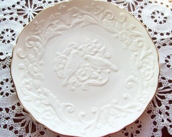 """Lenox - The Wedding Promises Anniversary Plate With Embossed Lovebirds - In Honor of This Special Anniversary - 12-1/2"""" Wide - Free Shipping"""