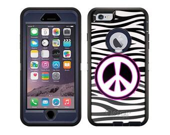 Apple iPhone 6 Otterbox Defender Peace on Zebra Print (B-016p)