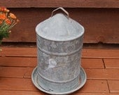 Galvanized 2-Piece Chicken Water Tower, Chicken Waterer, Farm Style Planter, Cool Lamp