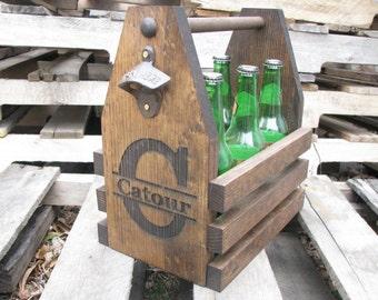 Laser Engraved Beer Tote, Six Pack Carrier with Rustic Bottle Opener, Beer Carrier, Beer Caddy, Best Man Gift, Groomsmen Gift