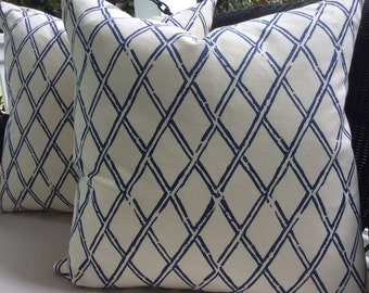 Quadrille Pillow Cover in China Seas Lyford Bamboo Navy Blue and White Sun Cloth, White Linen Backing, Choose Size Option