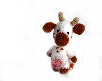 crochet cow, miniature cow mascot, little cabala animal, amigurumi cow, tiny cow, plushie cow, little stuffed animal, knited cow