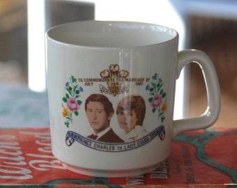 Fantastic Vintage Souvenir Mug of Prince Charles and Lady Diana Commemorative Mug