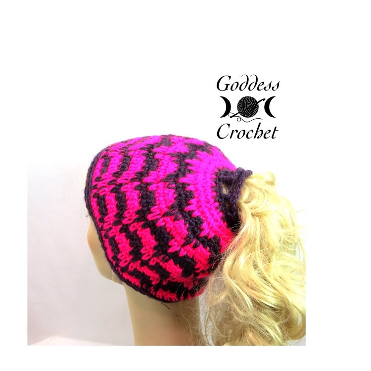 Ponytail Hat Crochet Pattern Spiked Punch by GoddessCrochet