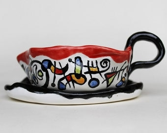 Gravy boat with under plate,  Ceramic Gravy Boat and Dock abstract design
