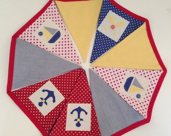 Bright Nautical Bunting with 9 flags