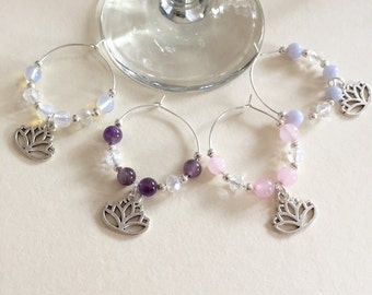 Gemstone beaded wine glass charms - lotus flower wine glass charms - gemstone tableware - gemstone decor - lotus flower tableware