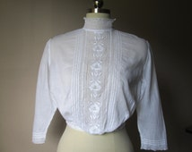 Enchanting Victorian/Edwardian/Downton Abbey Blouse/Shirtwaist with Embroidered White Work/Broderie Anglaise Morning Glories  SZ XS   #15058