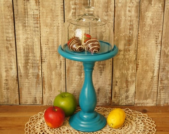 Glass Dome Tiered Stand - Dessert Stand - Cheese Dome - Shabby Chic Tiered Stand - Dessert Pedestal Glass Cloche