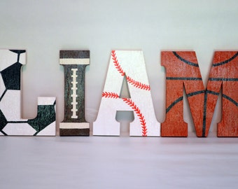 Sports Letters, Custom Made / Wood Block / Wall Decor / Wall Hanging / Nursery / Kids' Room / Playroom / Storybook Letters