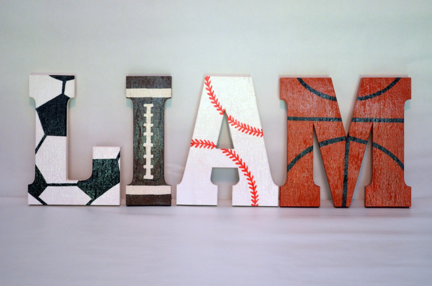 Wall Decor Block Letters : Sports letters custom made wood block wall decor