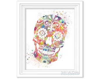 Sugar Skull Art Print Floral Watercolor Sugar Skull Poster Illustration Day of the Dead Sugar Skulls Home Decor Wall Art Gift (No.439)