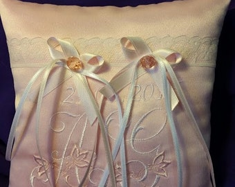 Wedding Ring Pillow for Ring Bearer. Embroidered pillow