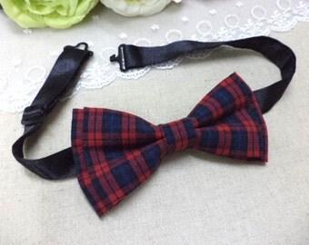 Red plaid bow tie, Tartan bow tie, red and navy tartan, mens bowtie, classic, Scottish, school, retro, red and navy plaid pre-tied bow tie