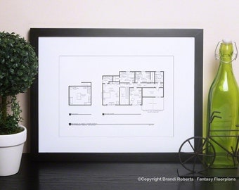 The Simpsons House Floor Plan - Blackline Poster for TV Home of Marge and Homer Simpson - 2nd Floor