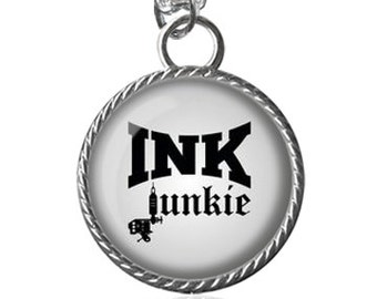 Tattoo Lovers Necklace, Ink Junkie Image Pendant Key Chain Handmade