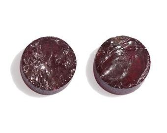 Rhodolite Garnet Round Rough Cut Loose Gemstones Set of 2 1A Quality 6mm TGW 2.60 cts.
