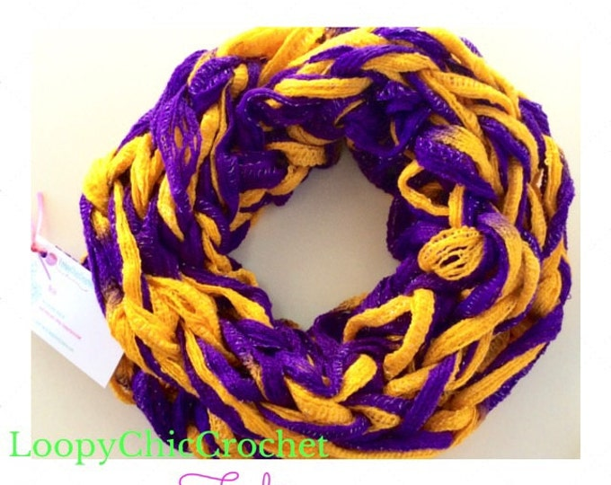 LSU or Mardi Gras Purple and Gold Chunky Arm Knit Infinity Scarf