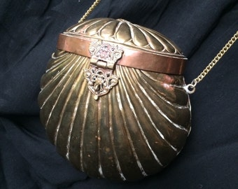 Vintage Indian Brass Clamshell Purse