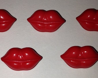 5 Red Lip Buttons - with shanks. novelty buttons, Valentines, love, lips halloween