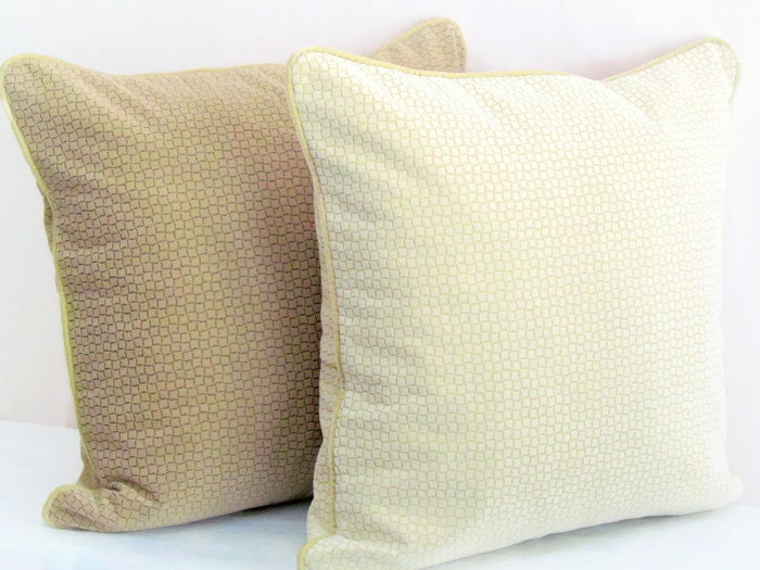 Brown Chenille Throw Pillows : Chenille pillow cover 20x20 Cream brown velvet piping by SABDECO