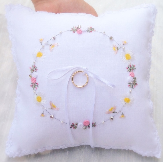 Items similar to embroidered ring bearer pillow