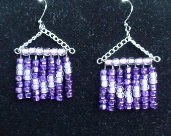 Purple and Lavender Beaded Chevron Earrings